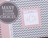 Girl Baby Book | Baby Memory Book | Baby Album Photo Book | Personalized Baby's First Year Book | Gray Chevron & Pink with Monogram