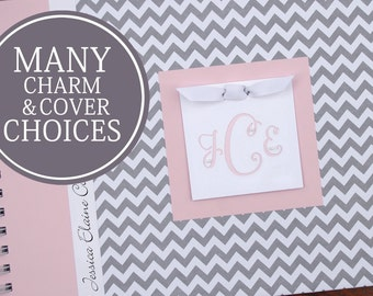 Girl Baby Book   Baby Memory Book   Baby Album Photo Book   Personalized Baby's First Year Book   Gray Chevron & Pink with Monogram