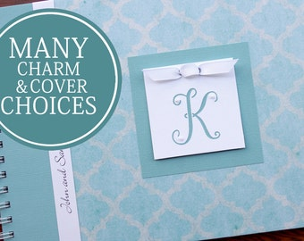 Wedding Anniversary Journal | Personalized Anniversary Memory Book |  | Paper Anniversary Gift | Engagement Gift | Teal Brocade with Initial