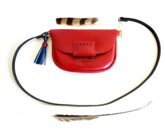 Lipstick Red Leather Purse with Blue Leather Tassel