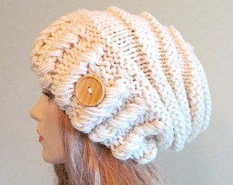 Cream Oversized Winter Hat Slouchy Beanie Slouch Hats Baggy Beret Button womens fall winter accessory White Cream Chunky Hand Made Knit