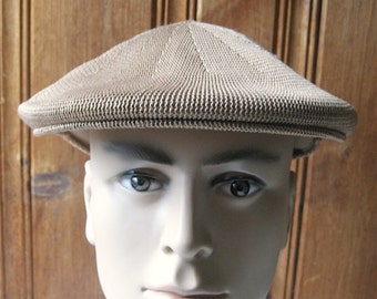 """Tan Mesh Cabbie Hat - Vintage Men's Newsie Cap - XL Unlined Breathable Man's Hat - Brown Synthetic Mesh - 23"""" Band Large to Extra Large"""