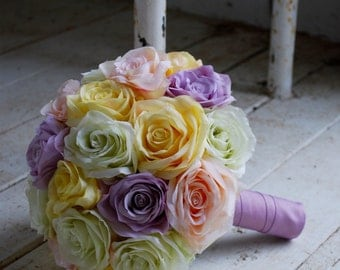 Silk bridal bouquet, pastel open roses, mixed shades