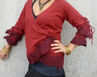 Long sleeve shirt ~ Nuno felt ~ Cotton ~ Tribal clothing ~ Wearable art ~ Elfnfelt