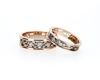 Two tone filigree wedding band set, diamond wedding rings, rose gold, white gold, men filigree ring, matching ring set, rose gold wedding