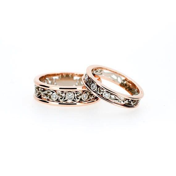 Two Tone Filigree Wedding Band Set Diamond Rings