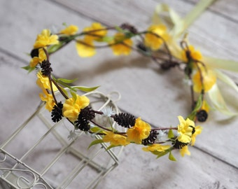 Yellow Flower Crown, Flower Girl Floral Crown, Girl Floral Crown, Yellow Wedding Crown, Boho Halo, Music Festival Hair Crown