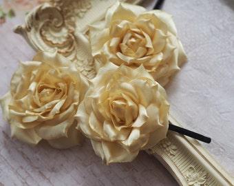 Bridesmaid Hair Rose, Yellow Flower Pin, Yellow Hair Pin, Red Wedding Pin, Bridesmaid Hair Pin Set, Yellow Satin Flower, Yellow Hair Rose