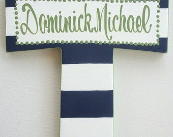 Painted wall cross navy blue white and green hand painted personalized baptism gift childs baptism dedication christening