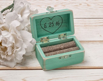 Wedding Ring Box Personalized Ring Bearer Ring Holder Shabby Chic Rustic Ring Box Mint Ring Hodler Mint Ring Bearer Box Wedding Ring Pillow