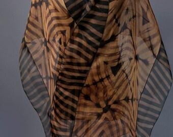 Brown Evening Wrap Hand Dyed Silk Organza Shibori Silk Wrap