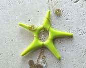 Karma - Bright Yellow Fused Glass Star Suncatcher - Ornament - Rear View Mirror Decor- S1095
