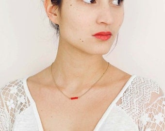 Orange crystal necklace with gilded chain 24K for women