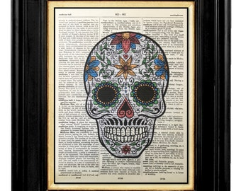 Sugar Skull, Day of the Dead, Skeleton Art Humor, Skeleton Prints, Dictionary Digital Art Print, Vintage Dictionary Print, Skeleton Humor