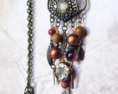 Brown necklace / gypsy bib necklace / earth tone bohemian jewelry