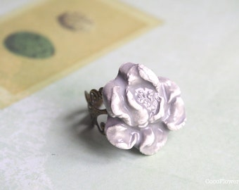 Gray Flower ring, Romantic ceramic Jewelry, Cottage chic jewelry,  Sympathy gift, Best seller ring, fancy jewelry