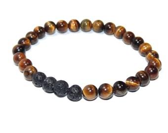 unisex • Lava + Tiger's Eye Bracelet | Personal Essential Oils Diffuser | Aromatherapy Jewelry | Stretch Bracelet