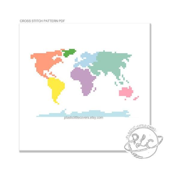 Small continental hustle continent world map small continental hustle continent world map modern colorful world map cross stitch pattern digital download pdf gumiabroncs Images