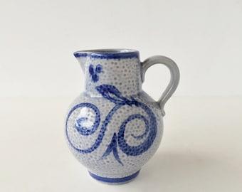 Vintage Scheurich Keramik Pitcher 418-14 Cobalt Stoneware Pottery West Germany, German Art Pottery