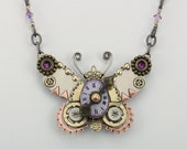 Steampunk Jewelry, Steampunk Butterfly, Butterfly Necklace, Butterfly Jewelry, Steampunk Inspired Jewelry, Lilac Butterfly, RP0634