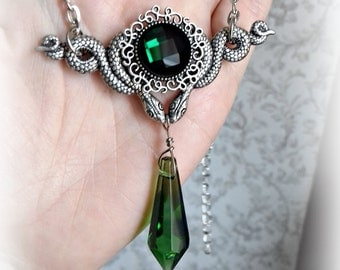 Slytherin house inspired glass crystal snake necklace.