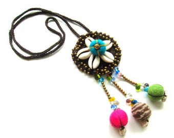 HUGE SALE Flamingo Flower Necklace Hippie Beaded Necklace BOHO Necklace Gifts for Her Jazzy Trendy Jewelry Unique Gift Ideas Trending Now