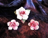 Vintage Porcelain Pink Flower Pin and Clip-On Earrings made in England