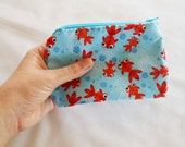 Coin Purse Japanese Cotton - Kimono Fabric - Zipper Coin Purse Pouch - Change Purse Makeup Bag - Red Koi Fish