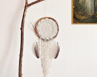 Dream catcher, wall hanging, handmade, home decor, boho, room decor, boho bedroom, crochet doily, wall decor, brown, neutral, nature, unique