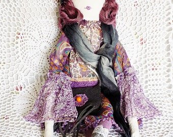 Textile doll, boho girl, rag doll, nursery decor, stuffed toy, handmade, handcrafted doll, boho decor, girls room, gray, purple, gift ideas