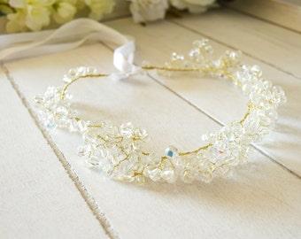 Crystal headband Bridal Hair Vine, Wedding Headband, Boho Headpiece, Crystal Hair Vine, Pearl and Crystal Headpiece, Bridal Crown