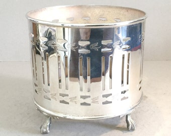 Silver plated food heater, Plate warmer, Teapot stand, Table food warmer, Hot plate, Drum shape, Ball and claw feet