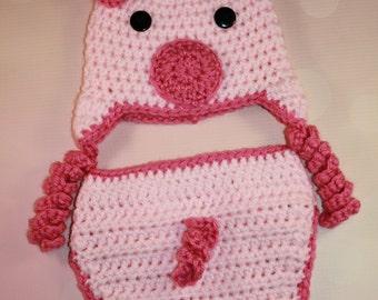 Baby Pig Set - Crochet Pig Set - Baby Pig Hat - Farm Animal Hat - Newborn Photo Prop - Piggy Costume - Newborn Halloween Costume - Newborn