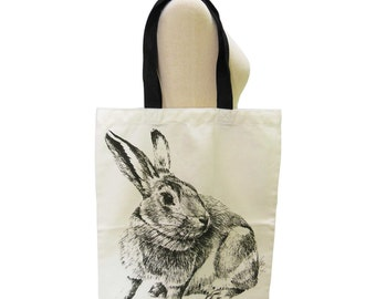 Rabbit Canvas Bag Bunny Bag Graphic Bag Animal Tote Bag Screen Print Handmade
