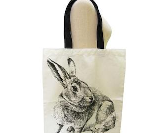 Rabbit Canvas Bag Bunny Animal Tote Bag Screen Print Handmade