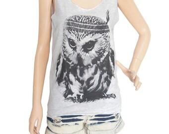 Owl Tank Top (Size S) Animal Tank Art Design Owl Shirt  Gray T shirt Women Tank Top Screen Print Size S