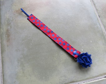 Pacifier Leash Paci Leash - Red with Blue Dots Ribbon