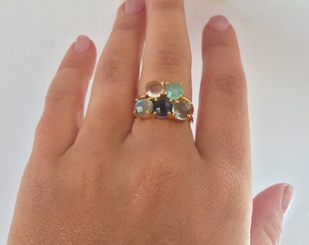 Stacking Mothers Rings, Large Family Ring, Five Children Birthstone Ring, Mom of Five Kids Ring, Mother's Day Gift from Kids, Mom Ring