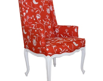 Refurbished Upholstered Floral Orange White Accent Wingback Chair Embroidered