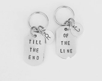 Till the end of the line - Steve Rogers & Bucky Barnes - Geeky Gifts-  Marvel - personalized monogrammed Dog Tag Key Chain set