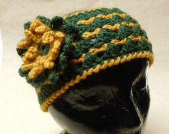 Two-toned headband/ear warmer with detachable, matching flower crocheted with green and gold yarn