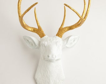 White & Gold Deer Head - The Alfred - White Resin Faux Deer Head- Stag Wall Decor by White Faux Taxidermy Animal Head Wall Art