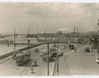 Genoa, Italy Harbor Road, Traffic, 1950s Vintage Snapshot Photo (511427)