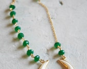 BOHO Necklace - Green onyx and Double Horn pendant vermeil necklace - Green Onyx rondelles - Boho style - 925 sterling silver