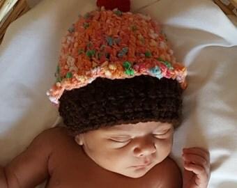 Baby Girl Crochet Cupcake Hat, Baby Birthday Hat, Photo Prop, Crocheted Baby Girl Hat, Baby Girl Gift, Baby Hat Cake