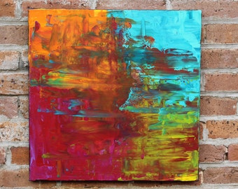 Original Abstract Acrylic Painting on 20 x 20 inch canvas by artust Missy Kaza