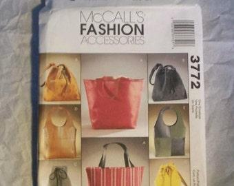 McCalls 3772 Fashion Accessories Purses Bags Pattern