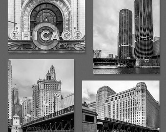 Chicago Photography, Marina City, Chicago Print Set, DuSable Bridge, Chicago River Downtown Theatre, Black & White City Photo Series
