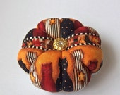 Pincushion CAT FABRIC. Great for a sewing gift - Round Pin Cushion. Double sided Cats. Autumn colours. Quilting gift