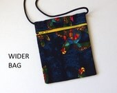 SEA TURTLE Pouch Zip Bag Dark Blue. Great for walkers markets travel.  Cell Phone Pouch.  Small blue fabric Purse. cross body WIDER Bag